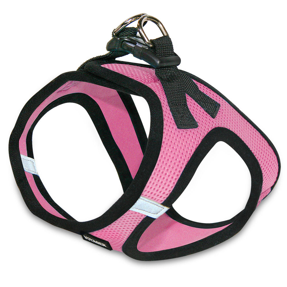 VOYAGER Step-In Air Pet Harness in Pink with Black Trim - Expanded