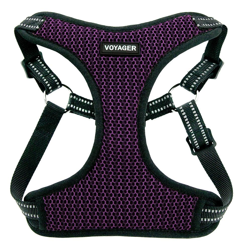 VOYAGER Two-Tone Step-In Flex Dog Harness in Purple - Front