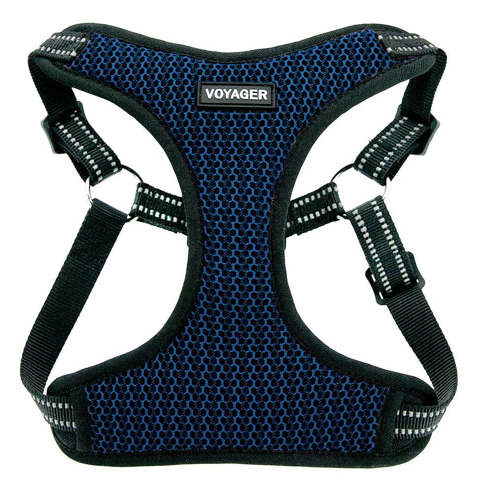 VOYAGER Two-Tone Step-In Flex Dog Harness in Royal Blue - Front