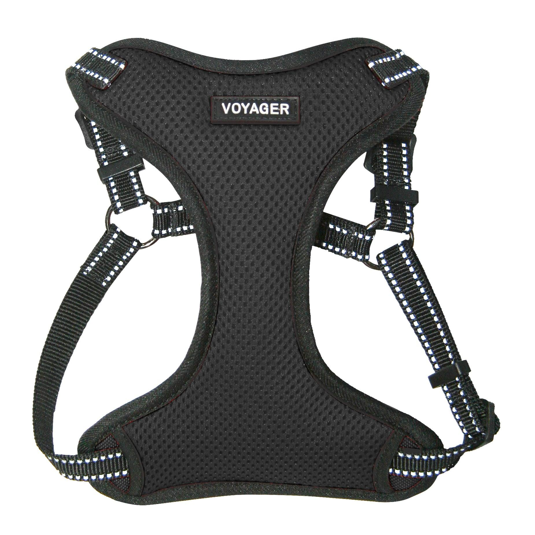 VOYAGER Step-In Flex Dog Harness in Black - Front