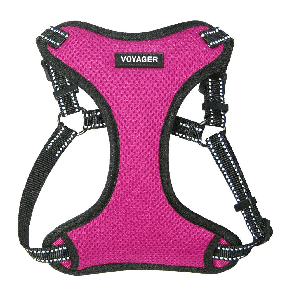 VOYAGER Step-In Flex Dog Harness in Fuchsia - Front