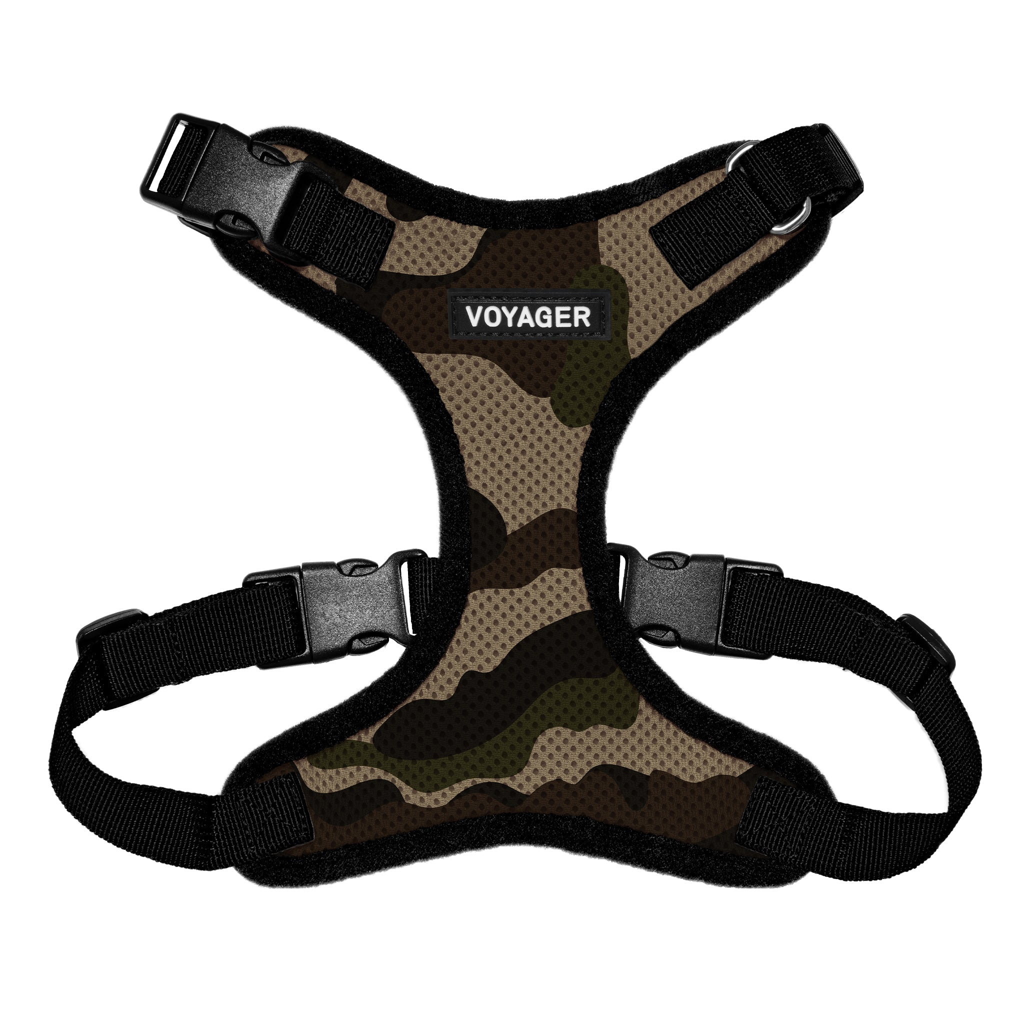 VOYAGER Step-In Lock Dog Harness in Camo with Black Trim and Webbing - Front