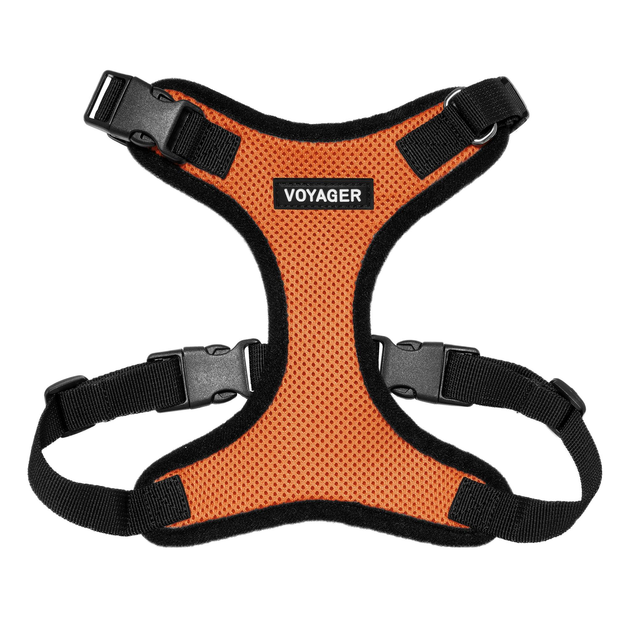 VOYAGER Step-In Lock Dog Harness in Orange with Black Trim and Webbing - Front