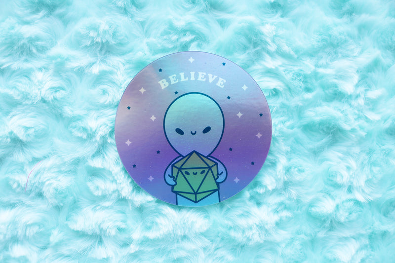 Holographic Alien and D20 Dice Buddy Sticker
