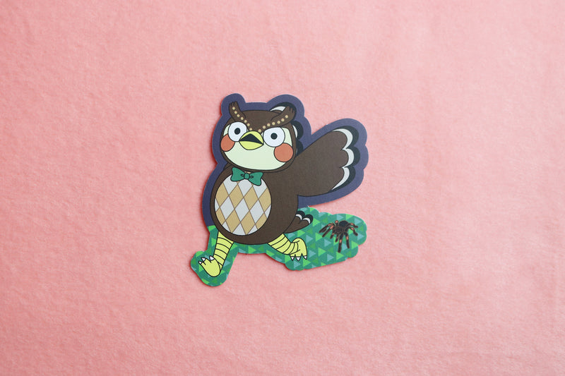 Animal Crossing Blathers Running from Tarantula Sticker