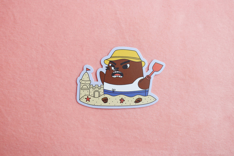 Animal Crossing Resetti Building Sand Castle Sticker