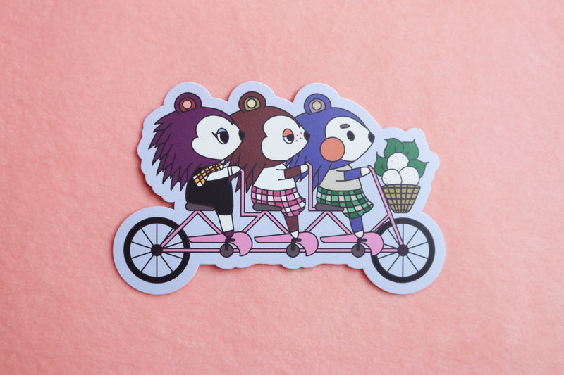 Animal Crossing Able Sisters Riding Tandem Bike Sticker