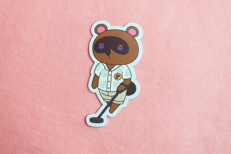 Tom Nook with Metal Detector from Animal Crossing New Horizons Sticker