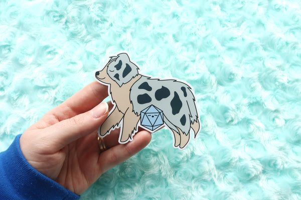 Australian Shepherd D20 Dice Buddy Sticker