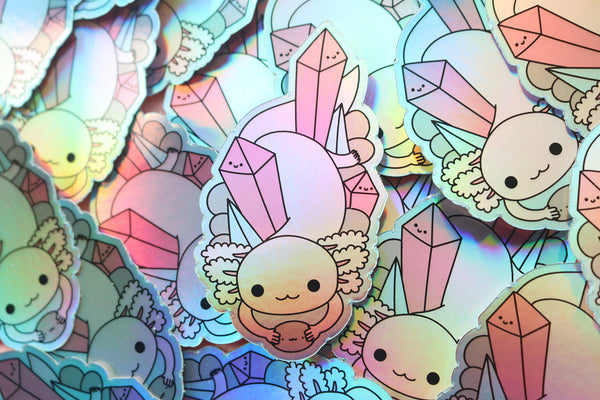 Crystal Axolotl Holographic Vinyl Sticker