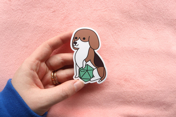 Beagle D20 Dice Buddy Stickers