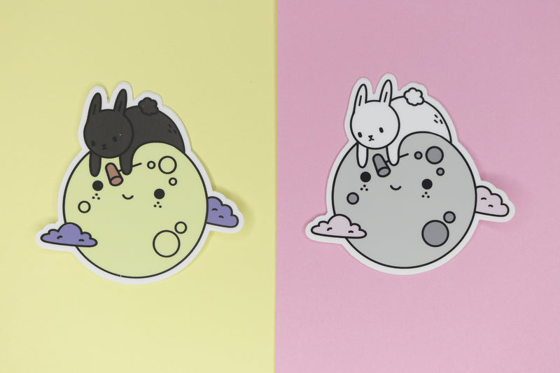 black and white mochi moon bunny stickers