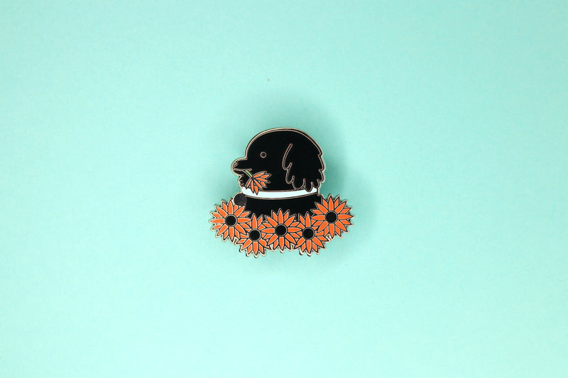 Hard Enamel Pin of Black Lab in Orange Sunflower Field