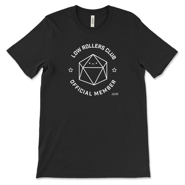 Black Low Rollers Club T-shirt for DnD Player