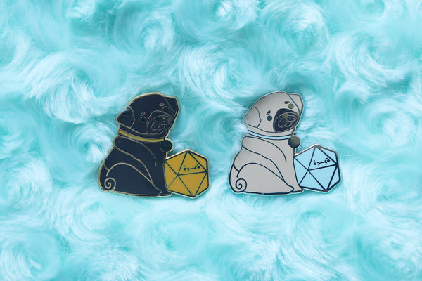 Pug D20 Dice Buddy Enamel Pin