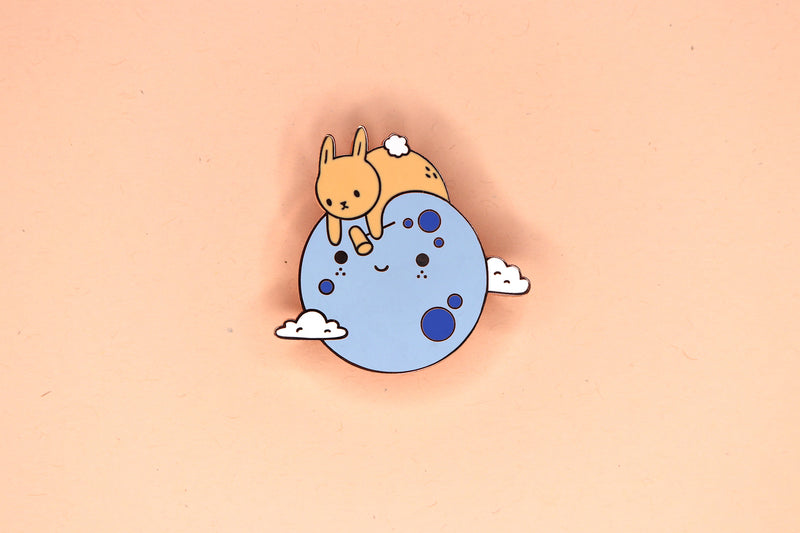 Blue Moon with Orange Bunny Hard Enamel Pin