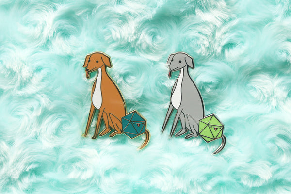 Italian Greyhound D20 Dice Buddy Enamel Pin