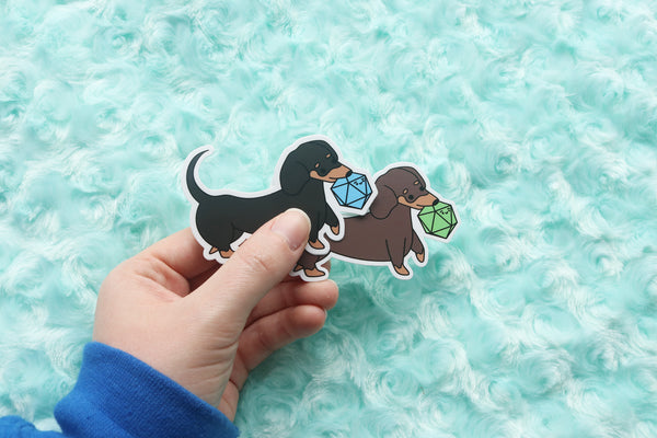 Short Haired Dachshund D20 Dice Buddy Stickers
