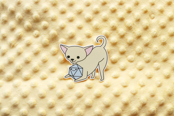 Cream Chihuahua D20 Dice Buddy Sticker