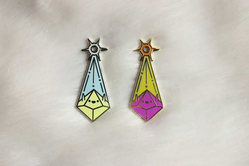 Cleric Enamel Pins on Pink Fur Background