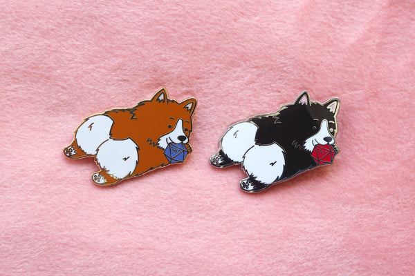 Corgi D20 Dice Buddy Enamel Pin