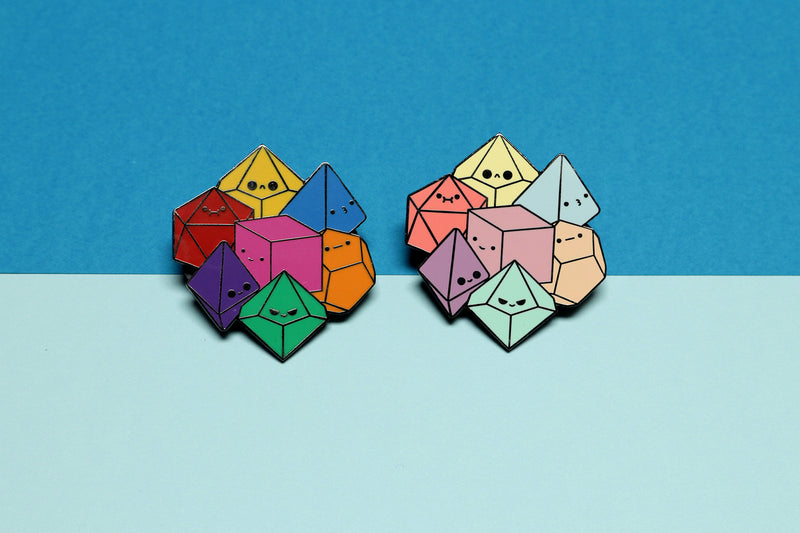 Primary and Pastel Dice Cluster Enamel Pins