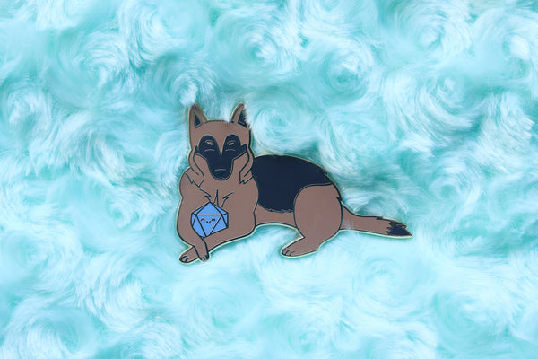 German Shepherd D20 Dice Buddy Enamel Pin