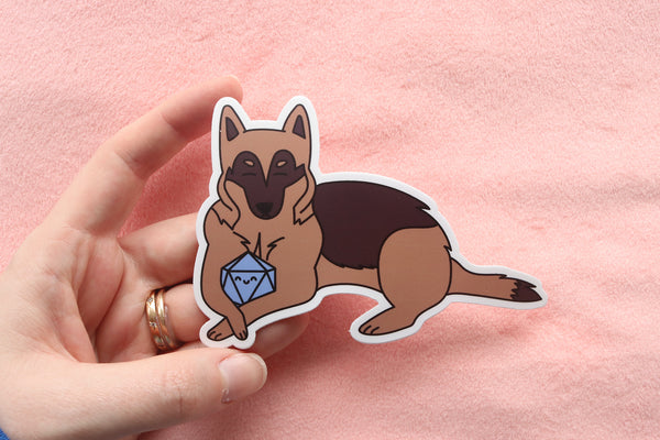 German Shepherd Dog D20 Dice Buddy Stickers