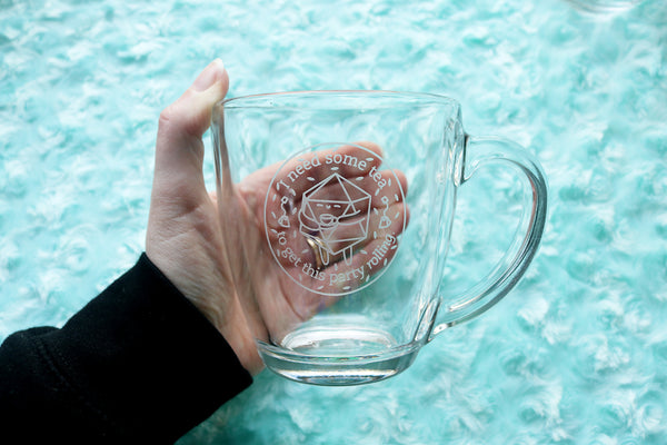 Tea Drinking D20 Glass Mug