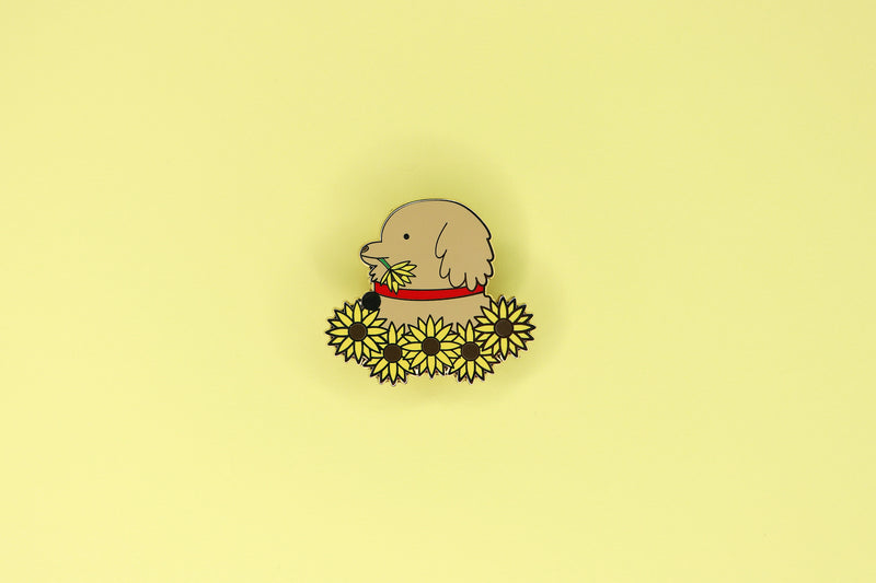 Hard Enamel Pin of Golden Retriever in Sunflowers