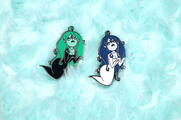 Green and Blue Banshee Girl Pins