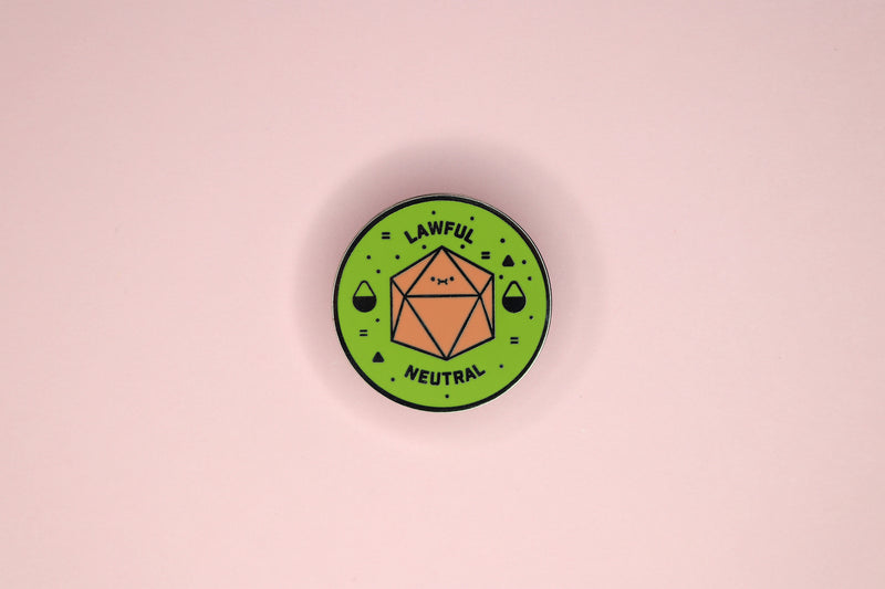 Green and Pink d20 Lawful Neutral Hard Enamel Pin