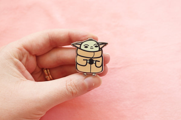 Hand Holding Baby Yoda Enamel Pin for Scale