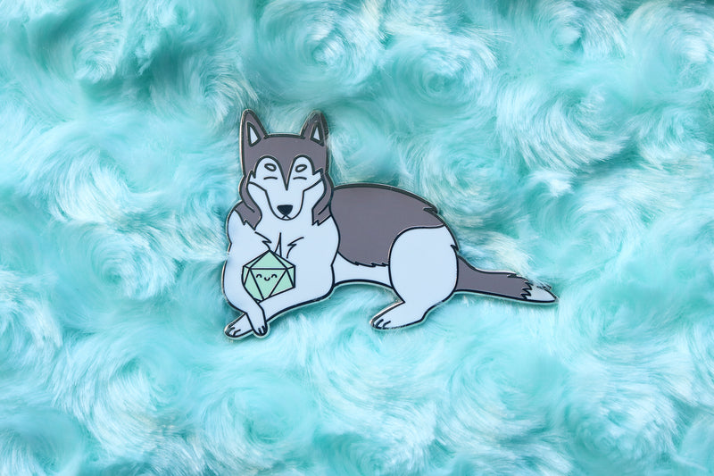 Husky D20 Dice Buddy Enamel Pin