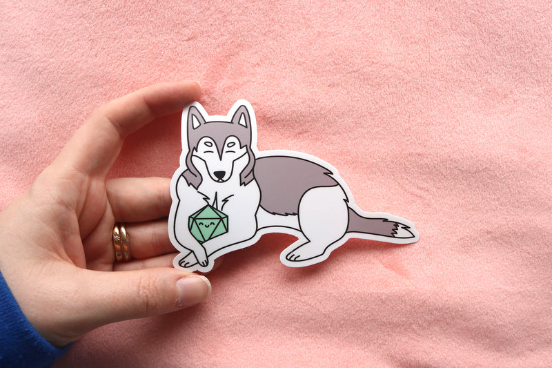 Husky D20 Dice Buddy Stickers