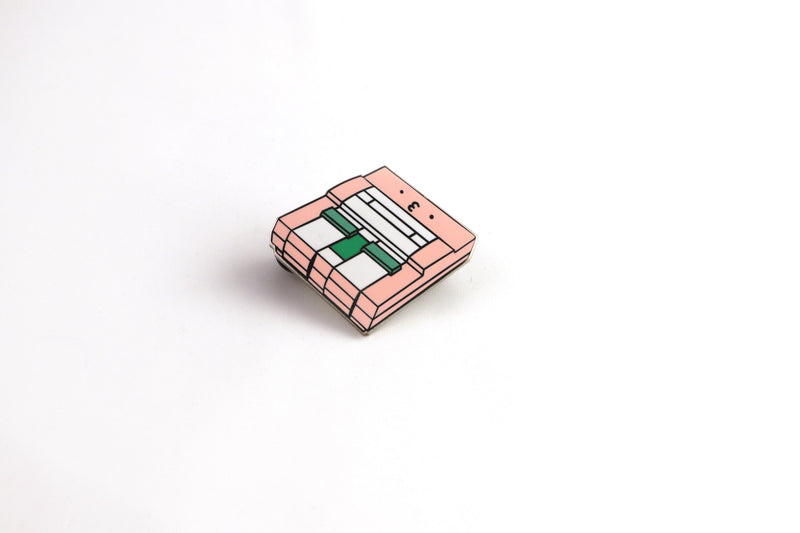 Pink SNES Console Hard Enamel Pin on White Background