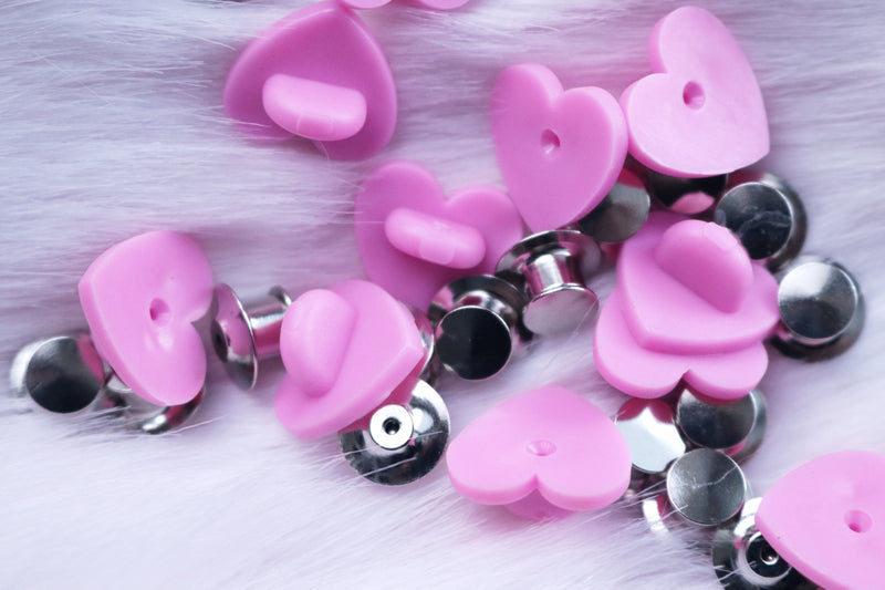 Heart Shaped Rubber or Locking Pin Backs