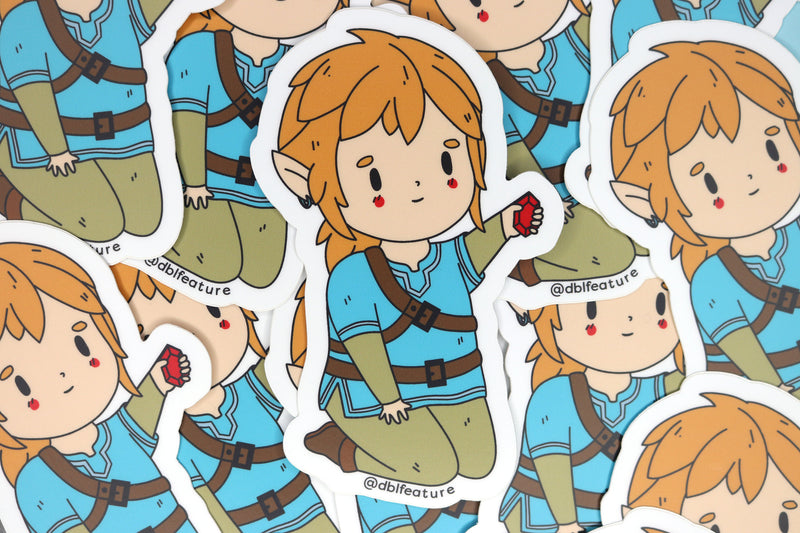 Messy Pile of Breath of the Wild Link Stickers