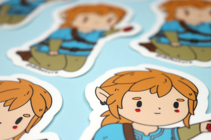 Close up of Breath of the Wild Link Sticker