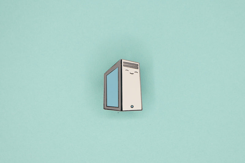 Gray PC Tower with Blue Side Panel Hard Enamel Pin on Blue Background