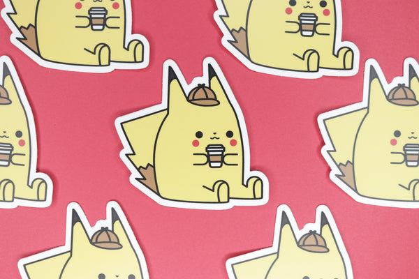 Seven Detective Pikachu Stickers on Red Background