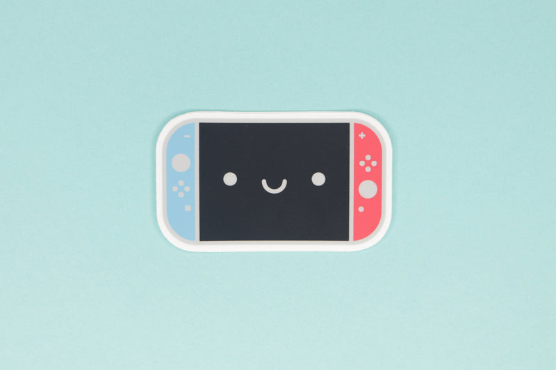 Neon Blue and Neon Red Smiling Switch Sticker on Blue Background