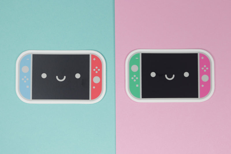 Neon Blue and Neon Red Switch Sticker on Blue Background with Neon Green and Neon Pink Switch Sticker on Pink Background
