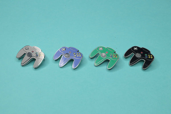 Row of Four N64 Controller Hard Enamel Pins