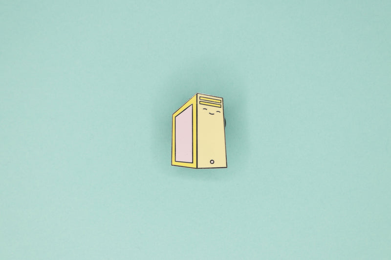 Yellow PC Tower with Pink Side Panel Hard Enamel Pin by Dbl Feature