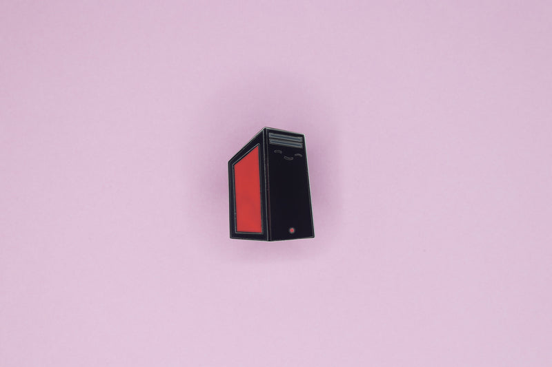 Black and Red PC Tower Pin on Pink Background