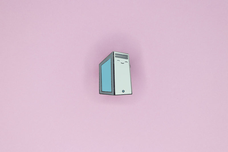 Grayish White PC Tower Pin on Pink Background