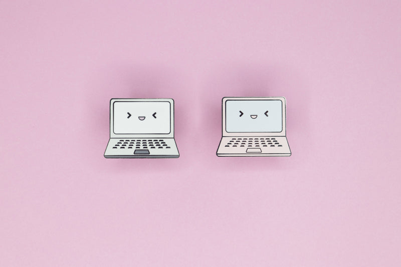 2 Gaming Laptop Hard Enamel Pins on Pink Background