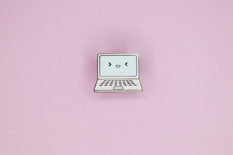 Pink Laptop Hard Enamel Pin on Pink Background