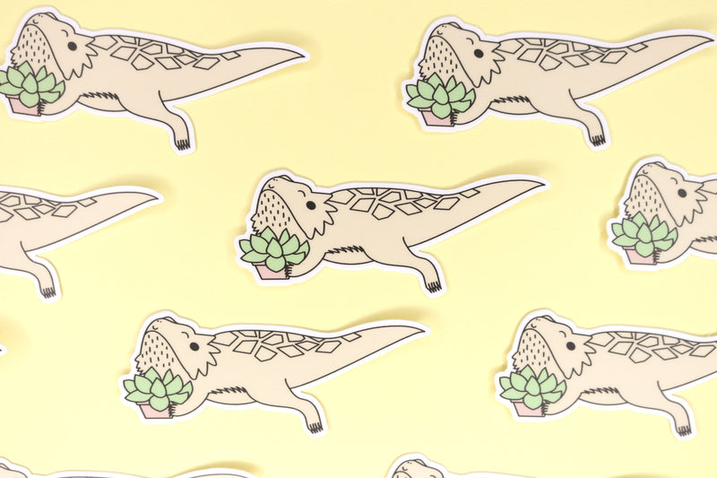 Group of Tan Bearded Dragon Stickers